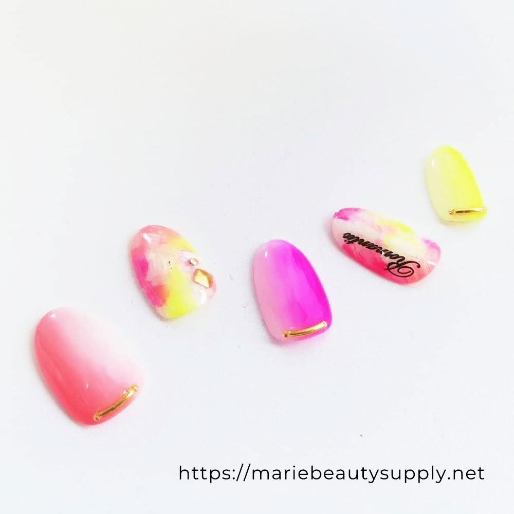 Tie Dye and Vertical Gradation with a Combination of Neon Colors. Nail Art Gallery by MARIE BEAUTY SUPPLY