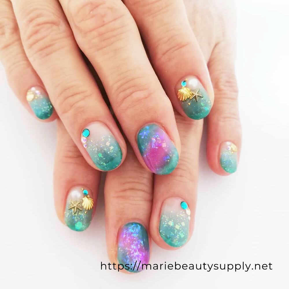 Sheer Color Summer Nails. Nail Art Gallery by MARIE BEAUTY SUPPLY