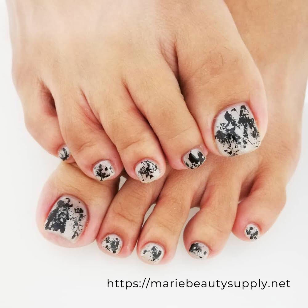Time-saving Design Using Black and White Foil. Nail Art Gallery by MARIE BEAUTY SUPPLY
