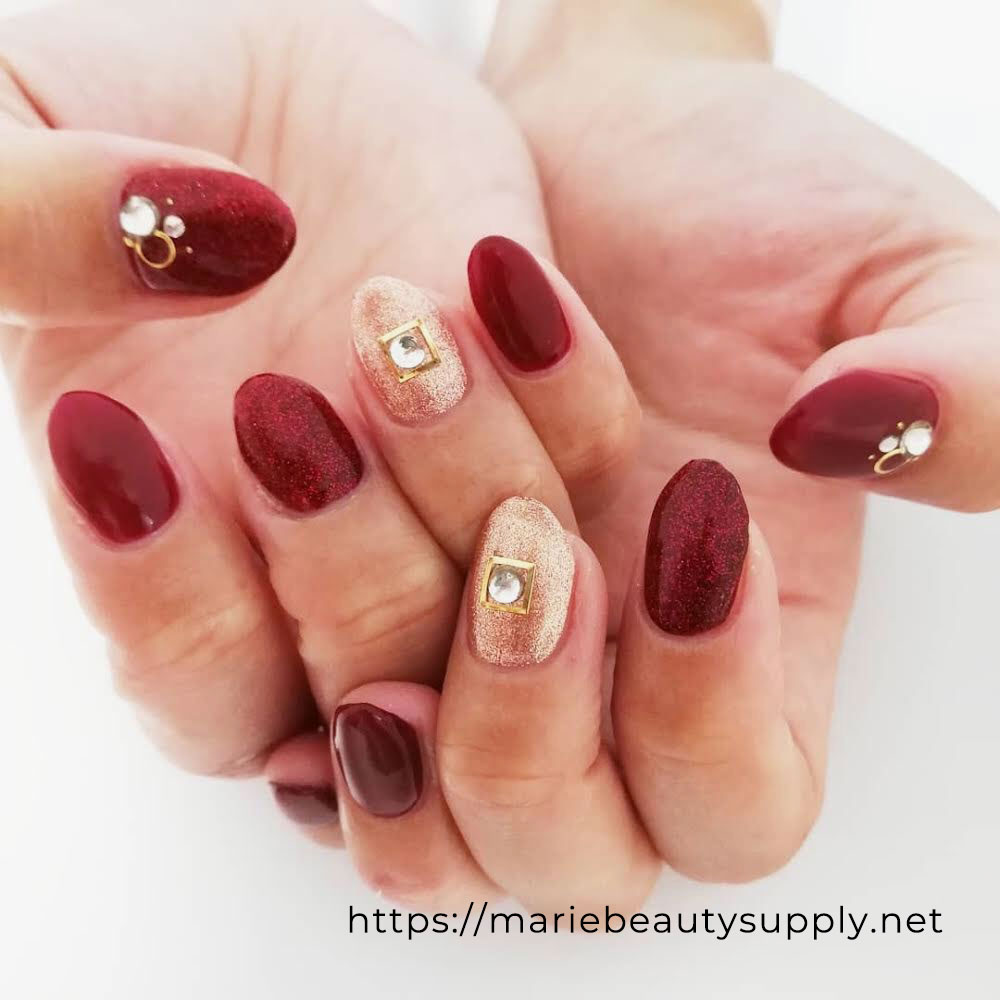 Gold Accented with a Combination of Glitter and Matte Bordeaux. Nail Art Gallery by MARIE BEAUTY SUPPLY