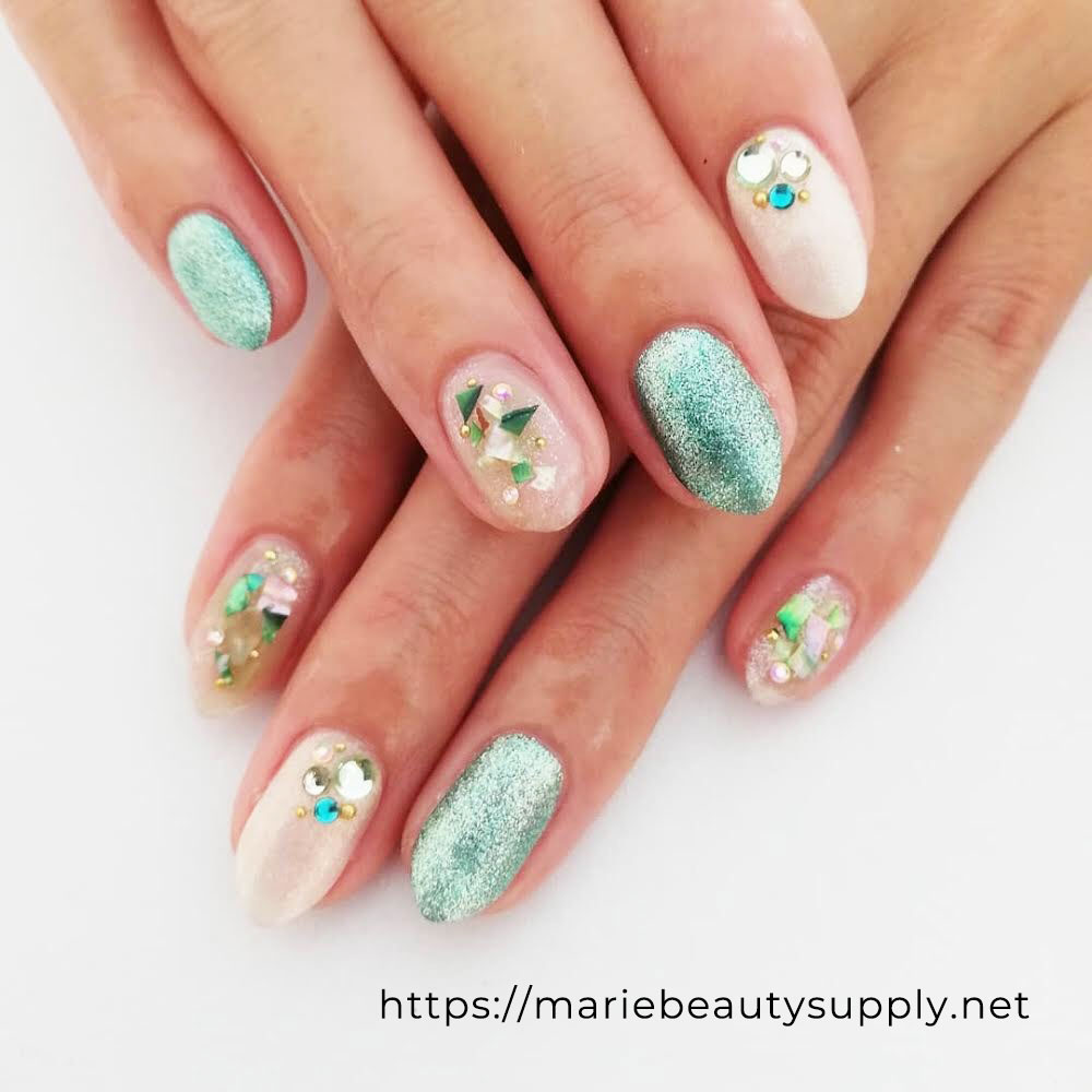 Refreshing Nails Combing green Glitter and Shells. Nail Art Gallery by MARIE BEAUTY SUPPLY