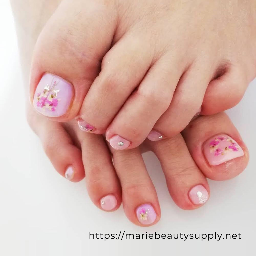 Pink Pedicure with Bouquet of Flowers.