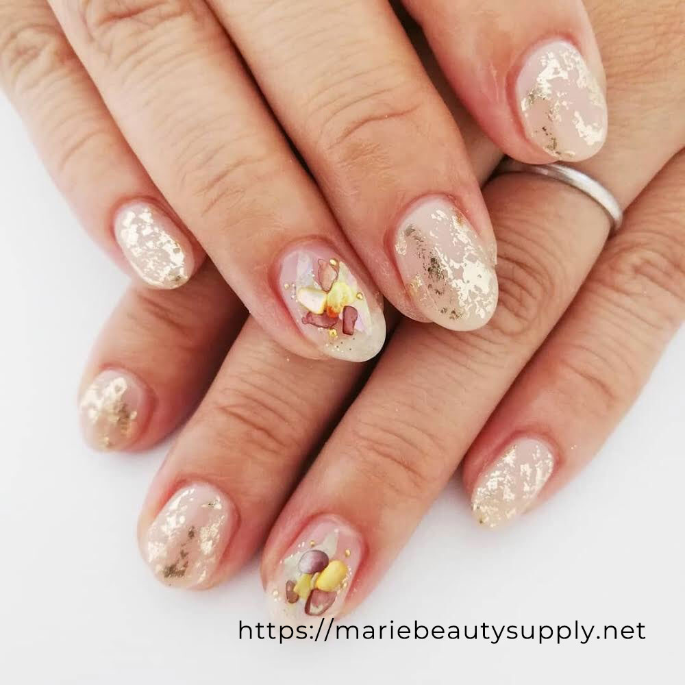 Simple Natural Nails with Foil and Shells.