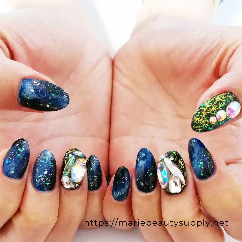 Galaxy Nails Made with Little Colors.