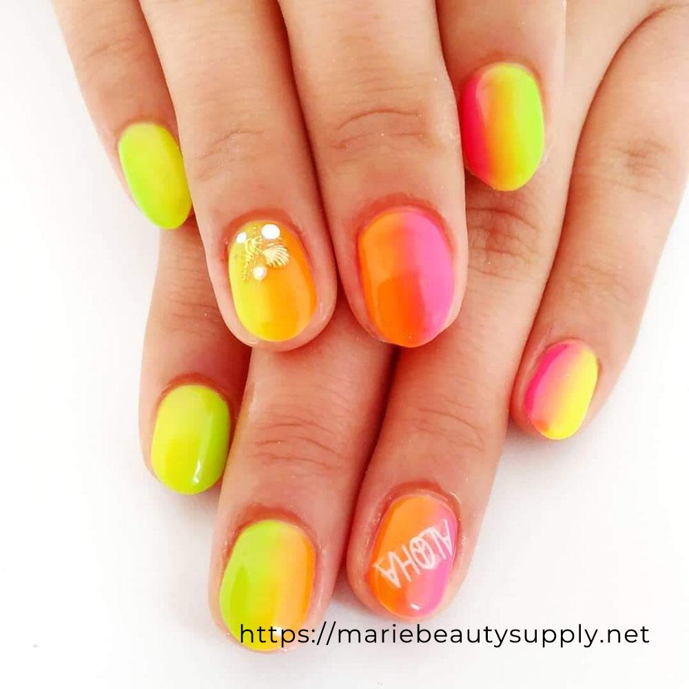 Neon Color Vertical Gradation Nail.