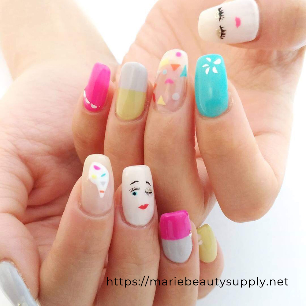 Cute Nail Design with Faces.