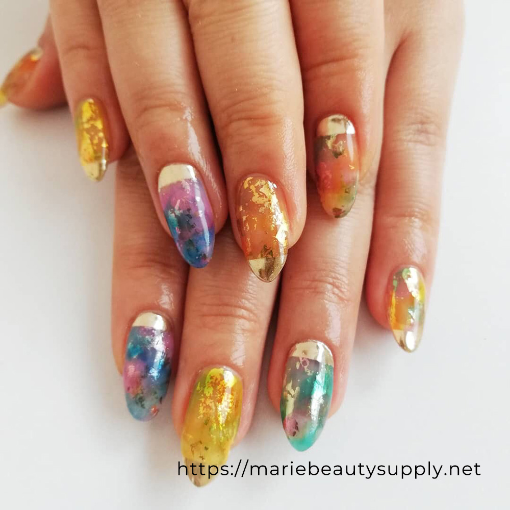 Tie Dye Designed Mirror Nails.