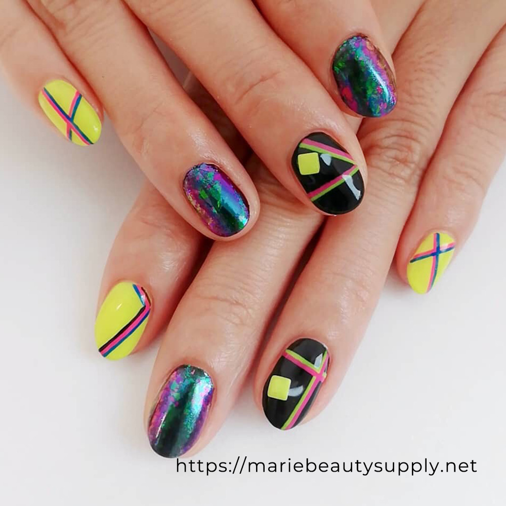 Neon Color Line Nails.