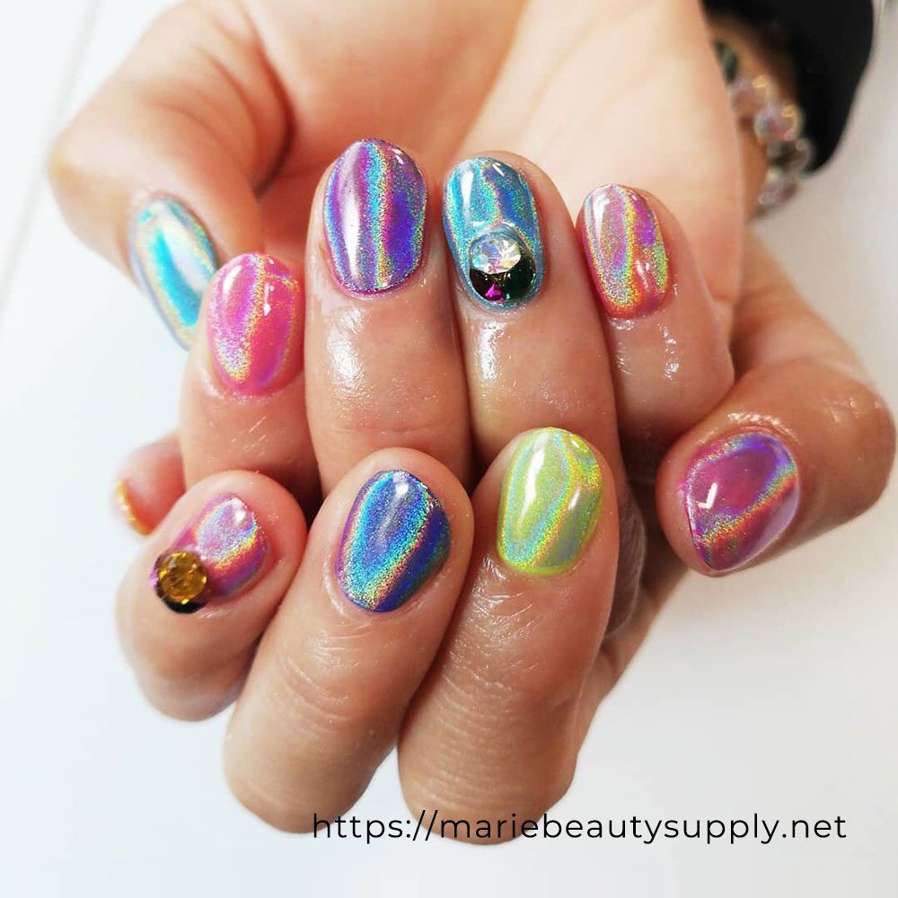Colorful Unicorn Powder Nails.