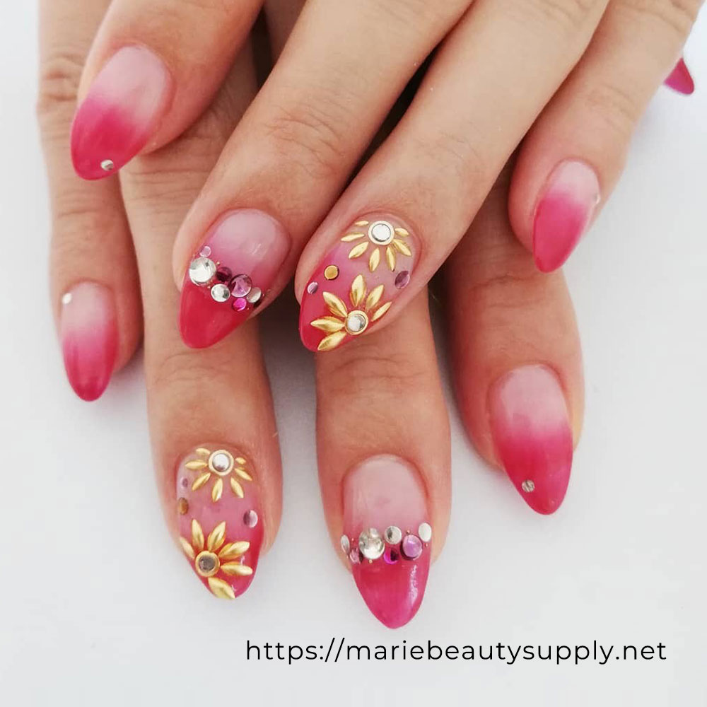 Pink, Red, Pearl with Flower Design Nails.