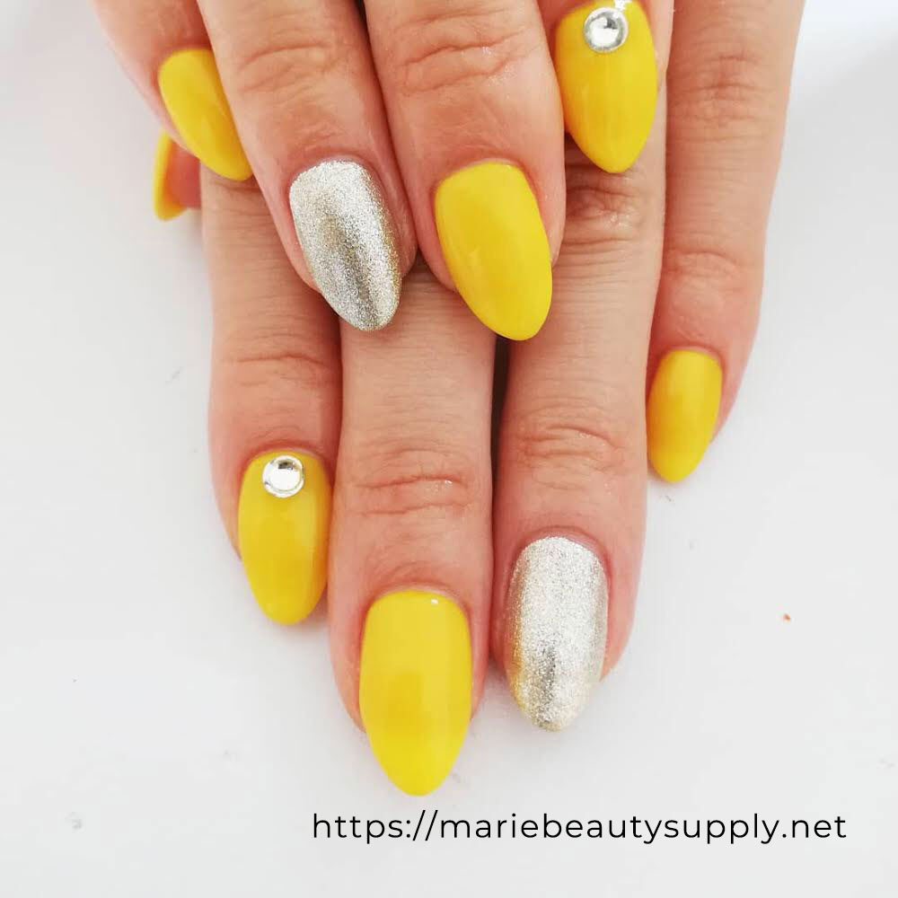 Simple Yellow Silver and Gold Glitter Nails.