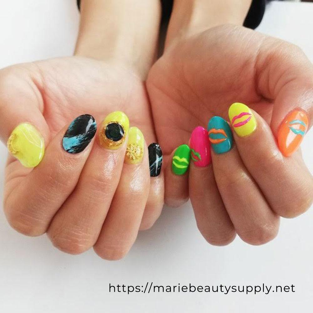 Neon Color Nail with Asymmetric Design.