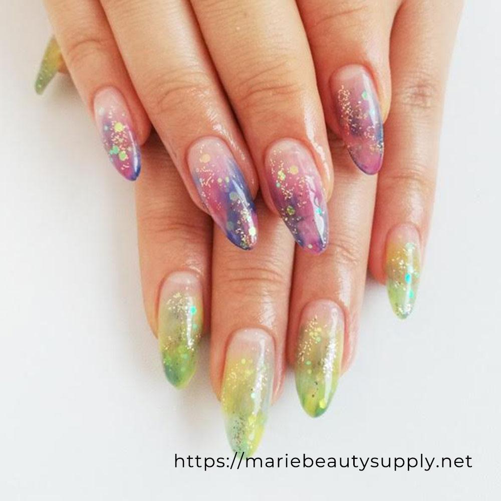 Asymmetric Color Tie Dye Nails.