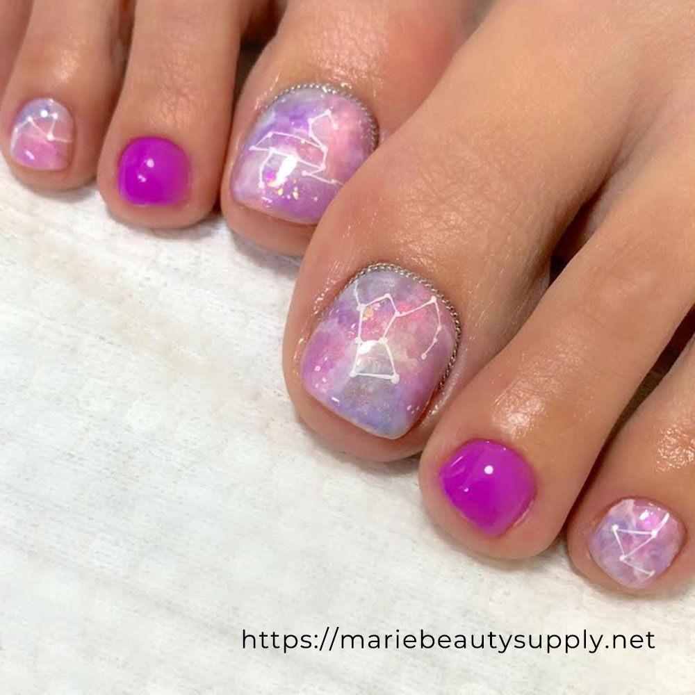 Colorful Constellation Nail Art.