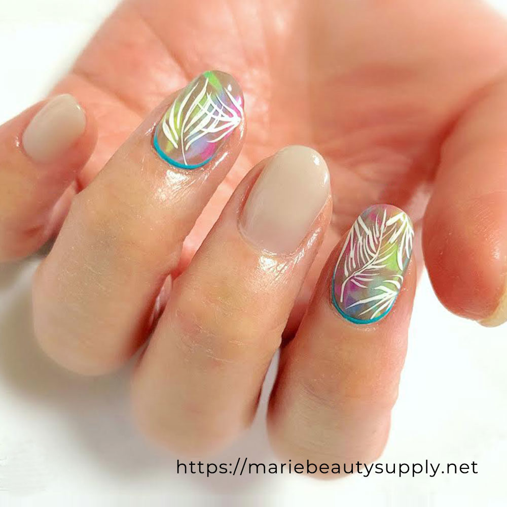 Nude Nails with Colorful Art.