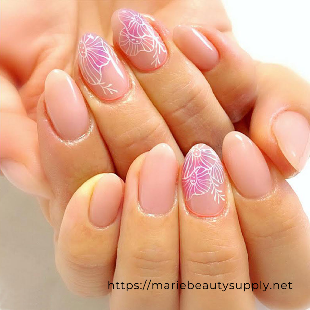 Nude Flower Nails.