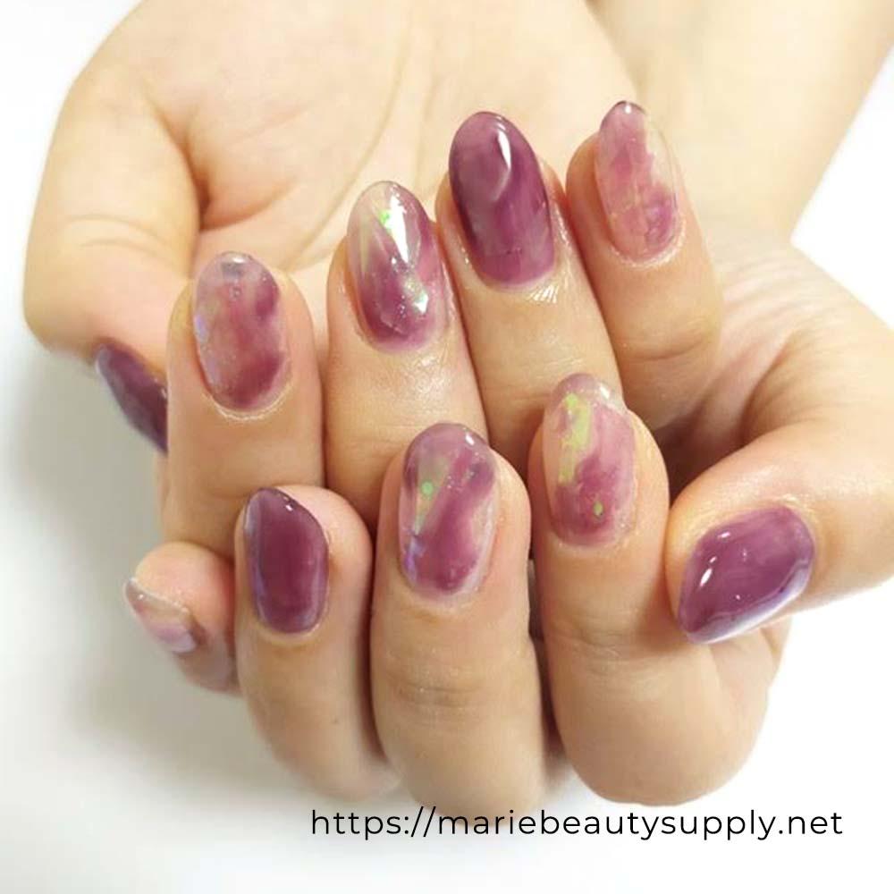 Clear Crystal-Like Nuance Nails.