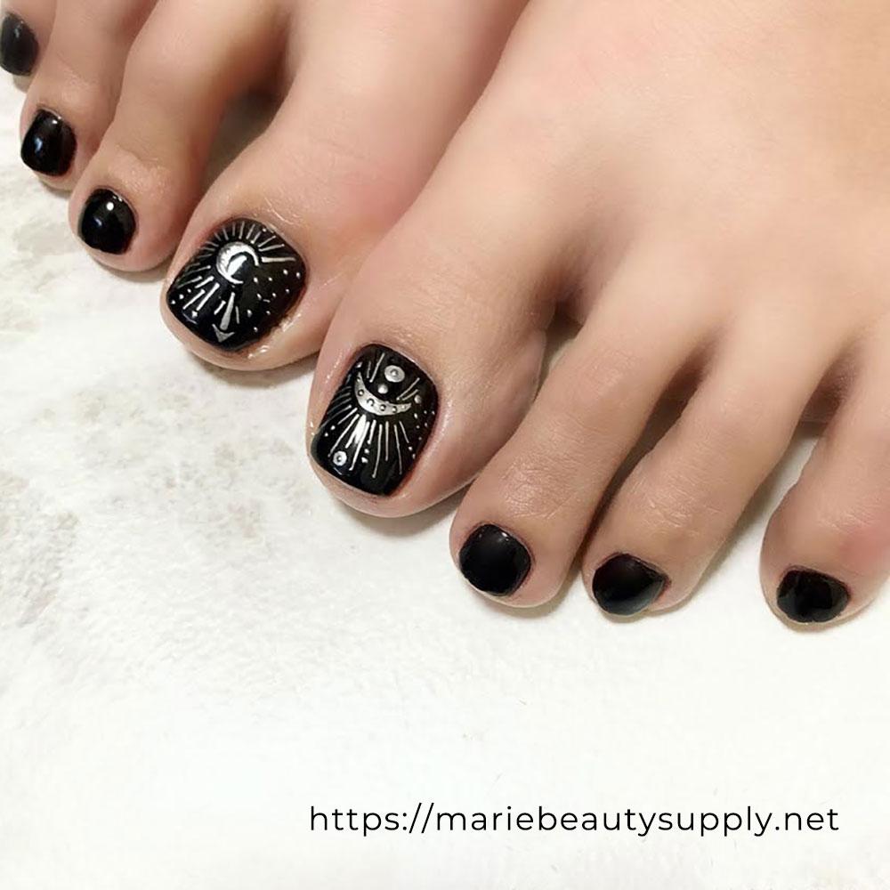 Black Metallic Pedicure.