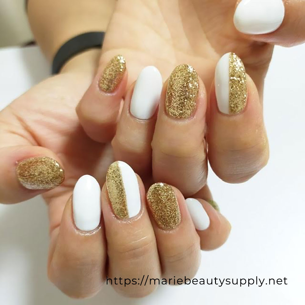 Gold and White Two-Tone Nails.