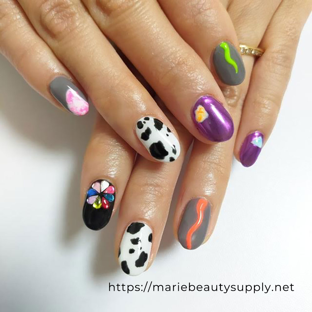 Cow Pattern Nails with Neon Colors.