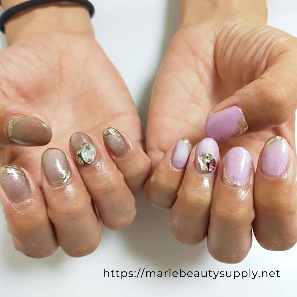 Asymmetric Nails with Magnet and Pearls.