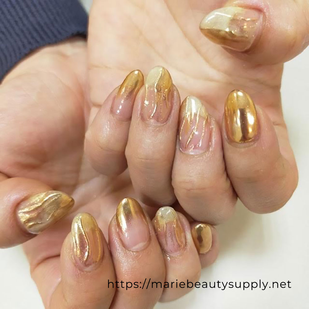 Clear Base Gold Mirror Nails.