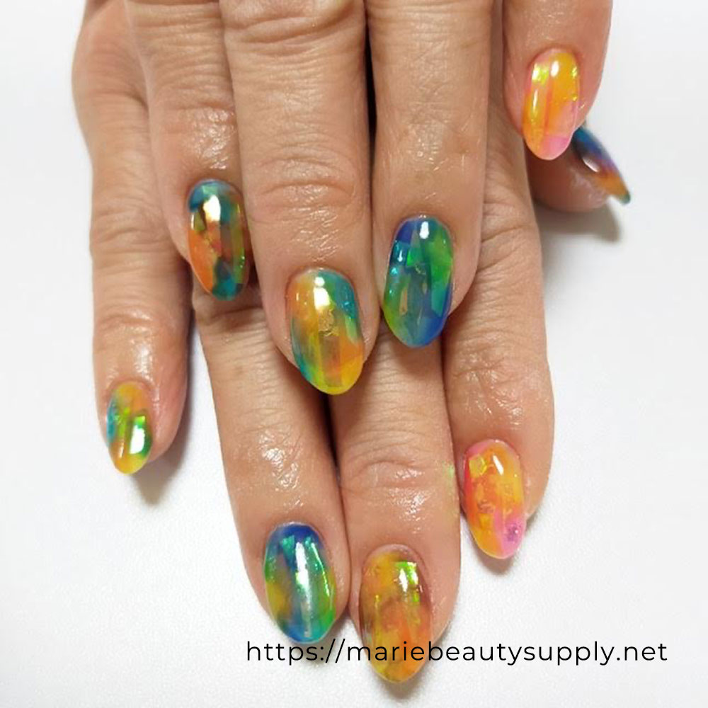 Transparent Colored Nails.