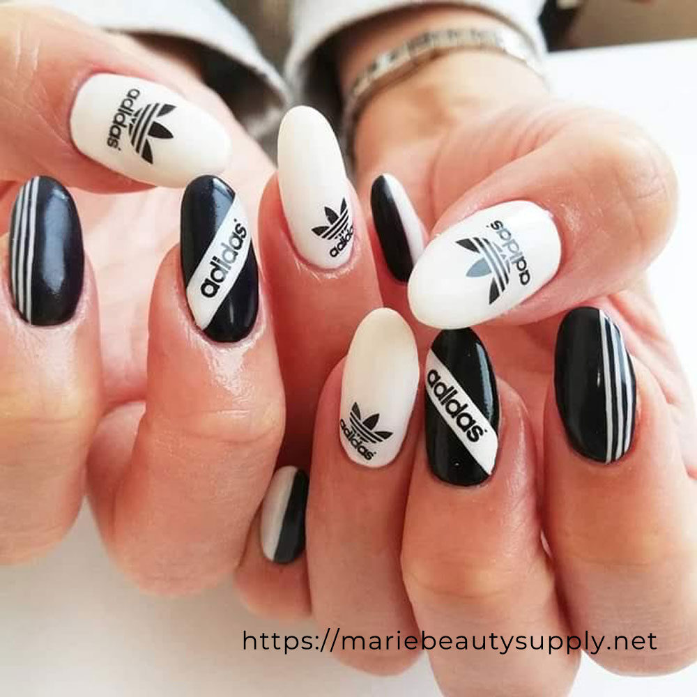 Black and White Adidas Nails.