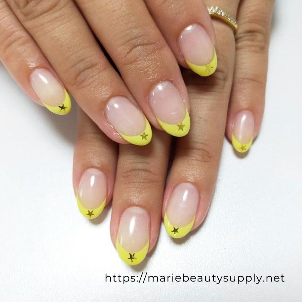 Lemon Yellow French Nails.