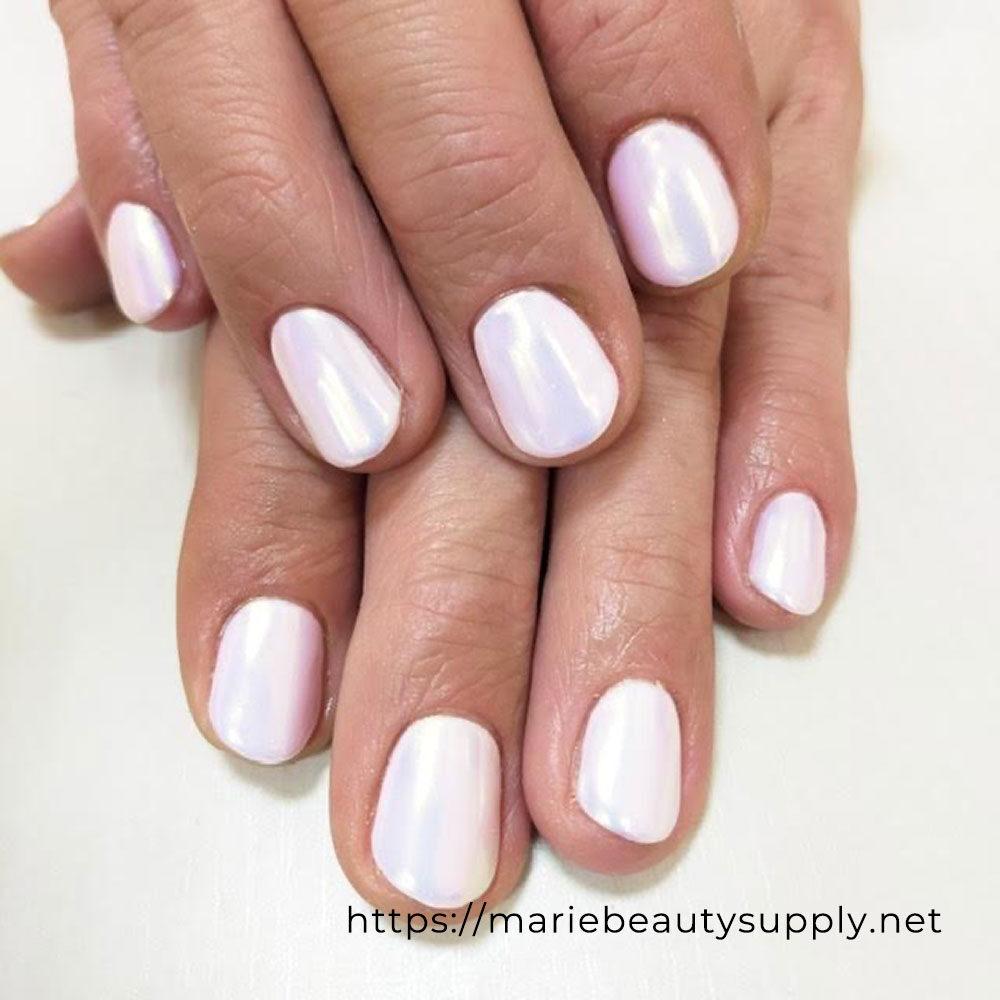 White Base Aurora Mirror Powder Nails.