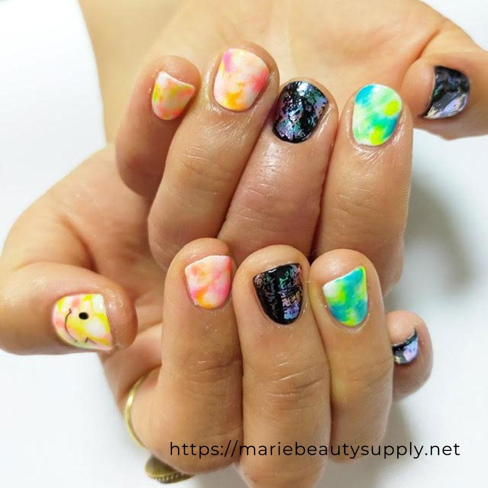Neon Tie Dye Nails.