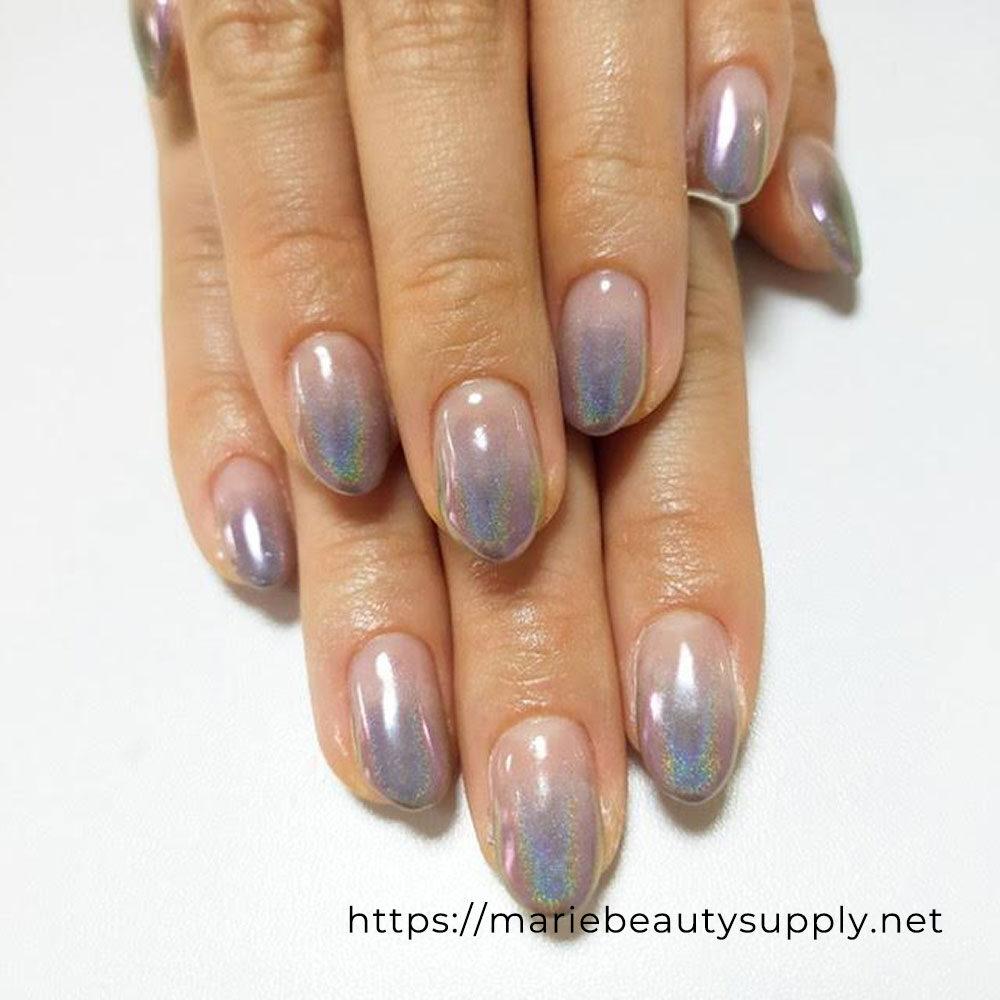 Purple Rainbow Mirror Gradient Nails.