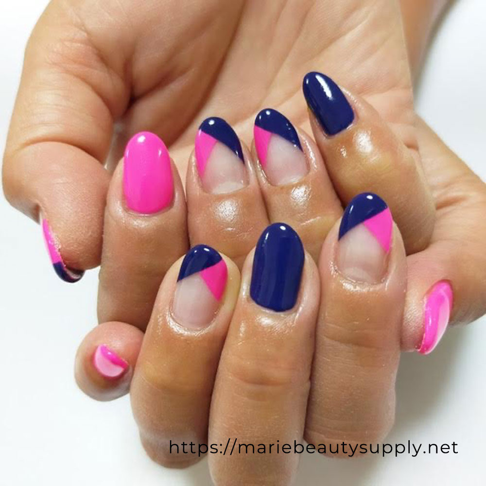 Navy Blue French Nails with Neon.