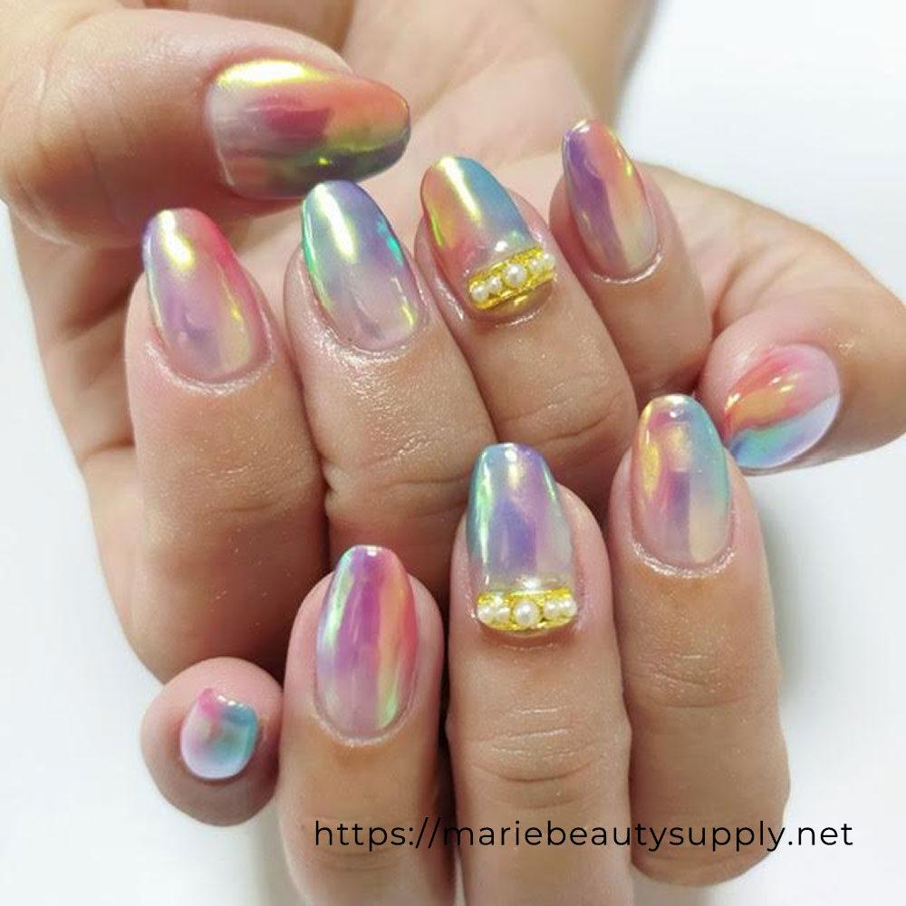 Vertical Colorful Powder Nails.