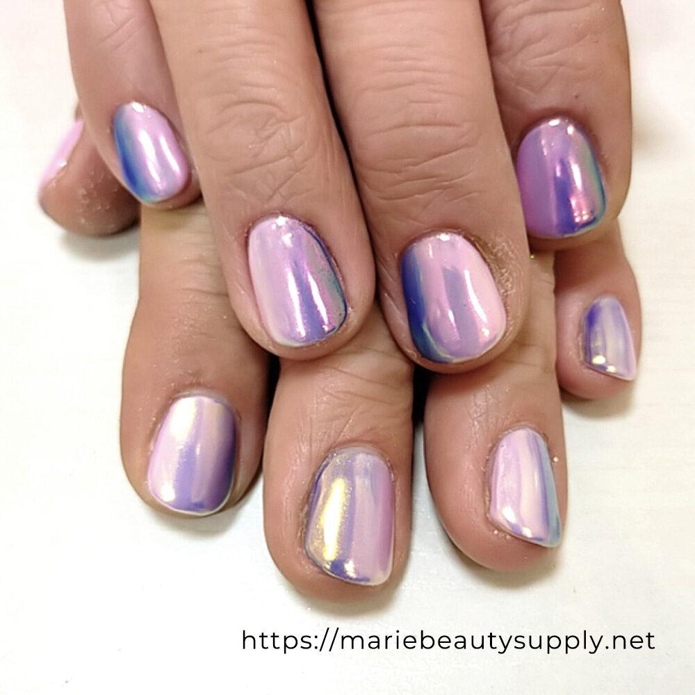 Pink Mirror Powder Manicure.